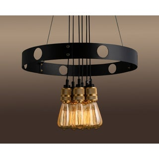 Jeanette 6-light Gold 22-inch Edison Chandelier with Bulbs