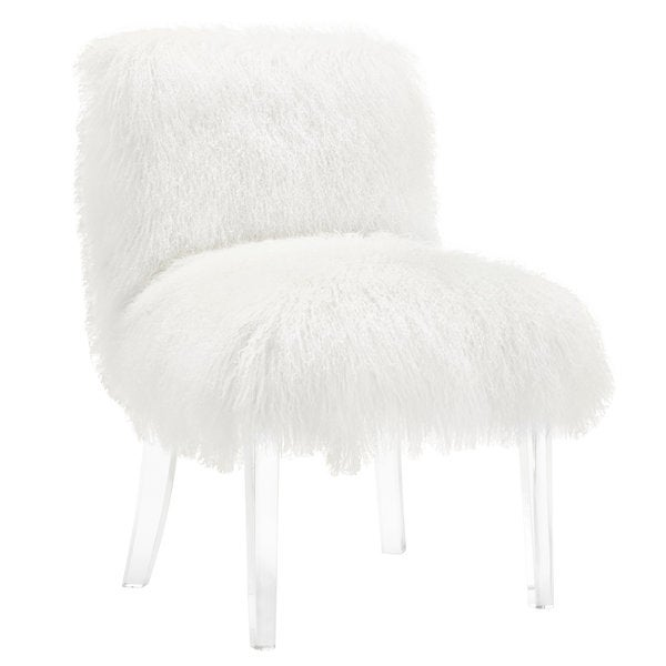 sophie white sheepskin lucite chair 17936704