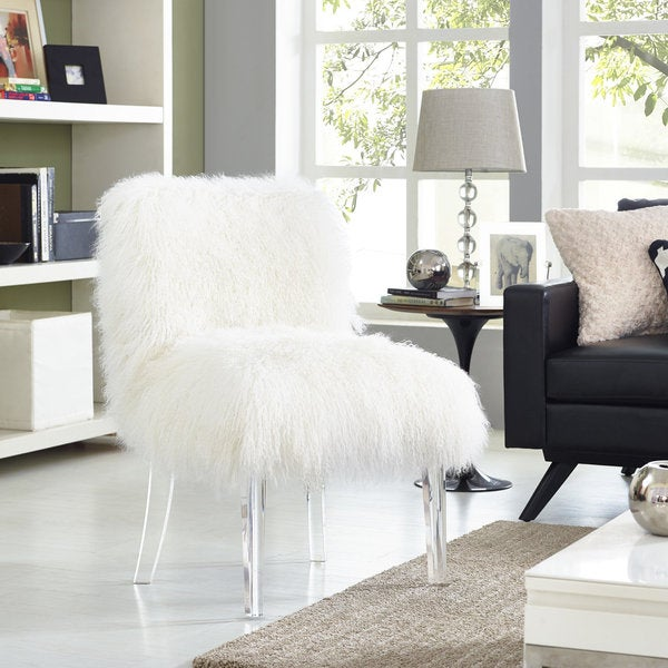 Sophie White Sheepskin Lucite Chair