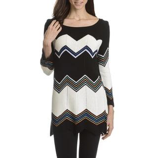 Joan Vass New York Women's Chevron Stripe Tunic Sweater
