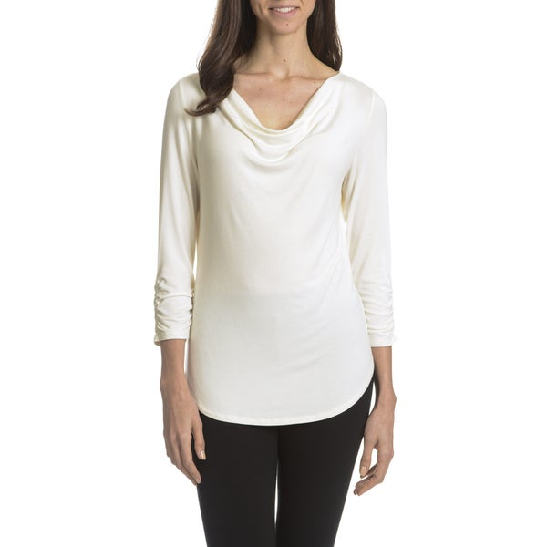 Joan Vass New York Women's Cowl Neck Shirt Tail Hem Top