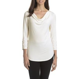 Joan Vass New York Women's Cowl Neck Shirt Tail Hem Top