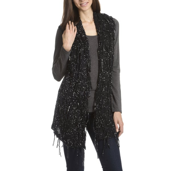 Joan Vass New York Women's Crochet Sleeveless Fringe Cardigan