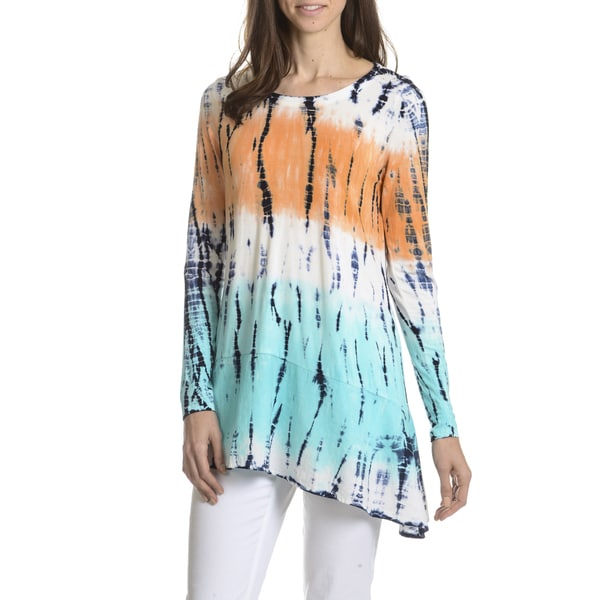 Joan Vass New York Women's Tie Dye Asymmetrical Hem Tunic Top