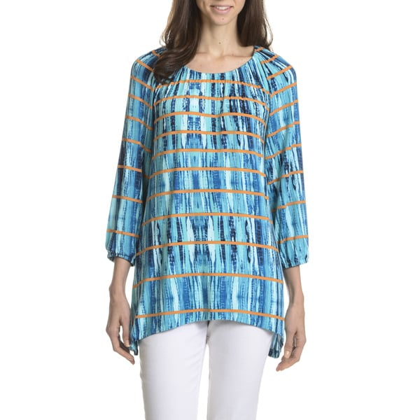 Joan Vass New York Women's Stripe Tie Dye Tunic Top 16844334