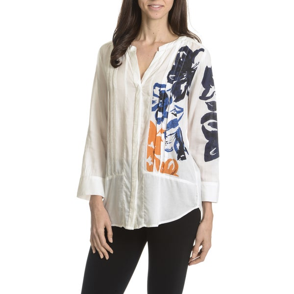 Joan Vass New York Women's Floral Print Pleated Front Shirt Tail Hem Blouse