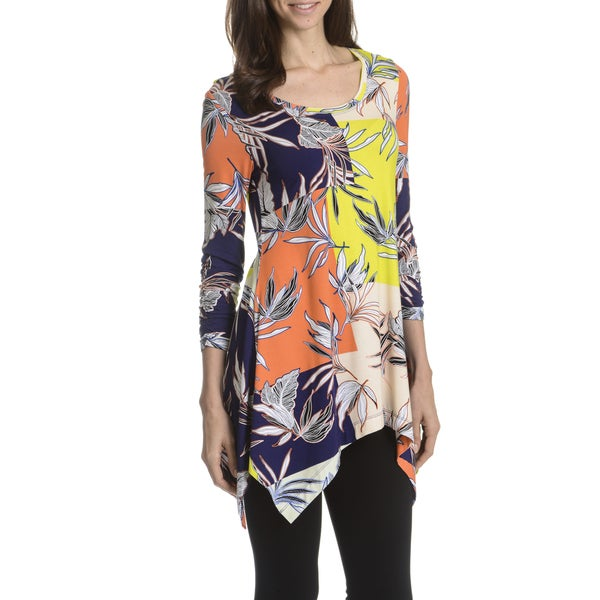 Joan Vass New York Women's Floral Print Uneven Hem Tunic Top