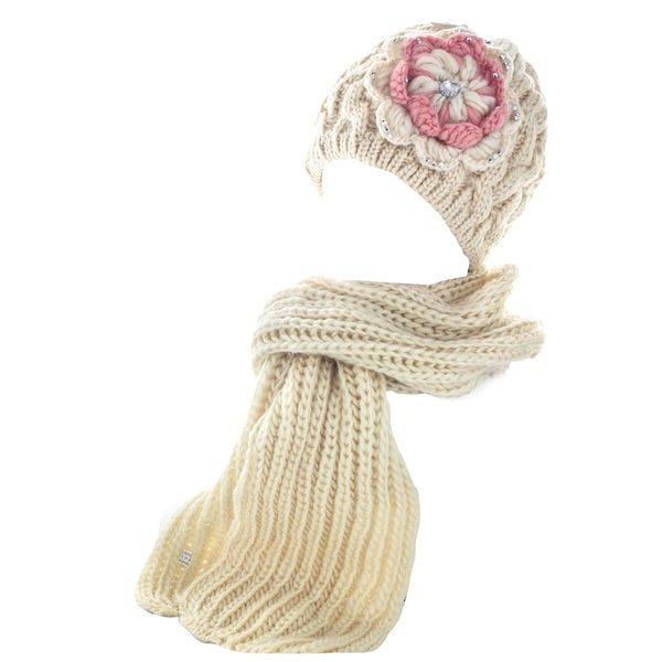 Kate Marie Women's Cable-Knit Studded Beanie with Scarf