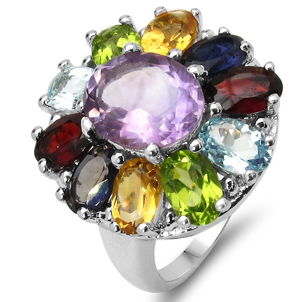 Malaika Sterling Silver Multi Stone Ring
