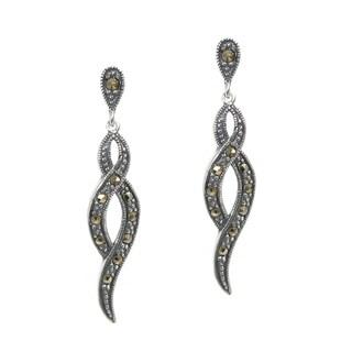 Queenberry Sterling Silver Marcasite Infinity Twist Dangle Earrings
