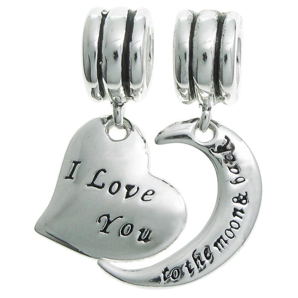 Queenberry Sterling Silver 'I Love You to the Moon and Back' Heart Dangle European Bead Charm