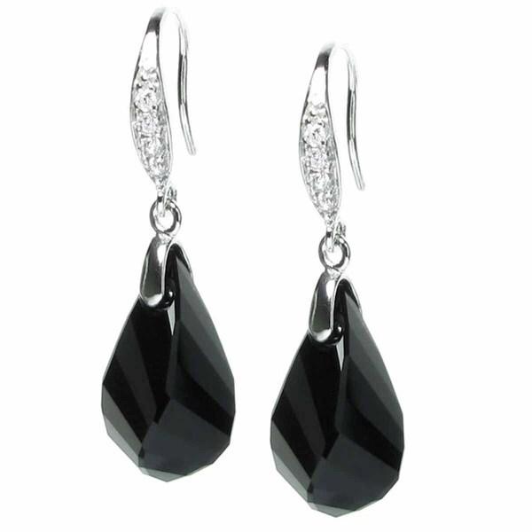 Queenberry Rhodium-plated Sterling SilverJet Black Crystal Teardrop Dangle Earrings