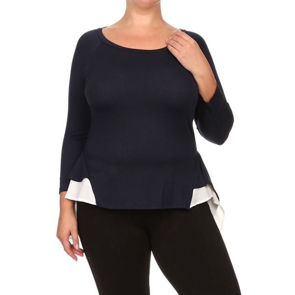 Women's Plus Size Long Sleeve Top with Contrast Ruffle Hem