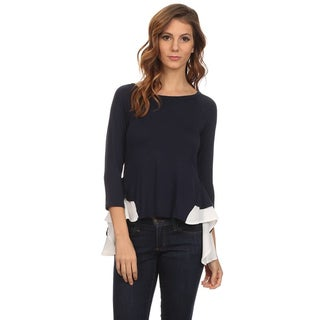 MOA Collection Women's Solid Contrast Ruffled Hem Top