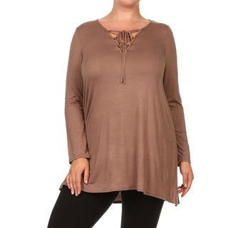 MOA Collection Women's Plus Size Solid Lace-up Neck Tunic