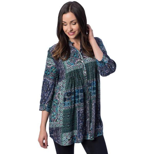 Women's Moroccan Print Tuxedo Pleat 3/4-Length Sleeve Tunic