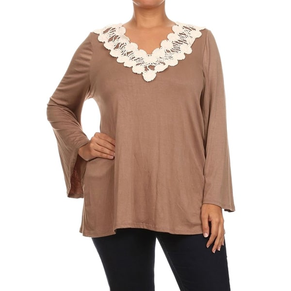 Women's Plus Size Crochet Trim Tunic