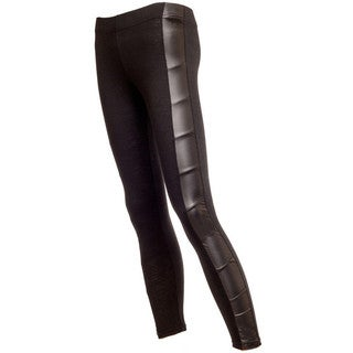 Women's Soft Stretch Jersey Leggings with Ruched Leather Side Panel