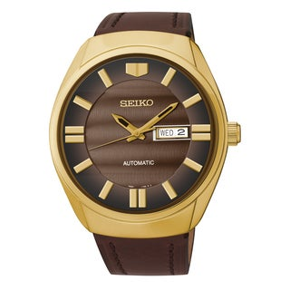 Seiko Men's Recraft Analog Display Japanese Quartz Brown Watch