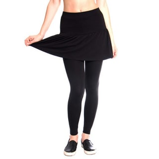 Women's Black Pleated Rara Skirt with Leggings