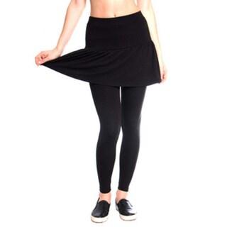 Women's Black Pleated Rara Skirt with Leggings