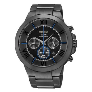 Seiko Men's Recraft Chronograph Solar Power Black Stainless Steel Bracelet Watch