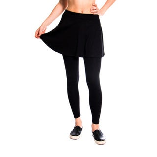Leggsington Women's Black Loose-Pleat Mini Skirt Leggings