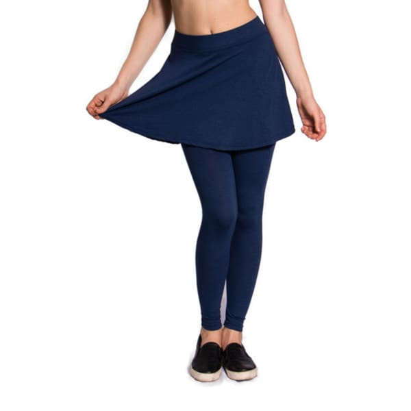 Blue Leggings with Attached Loose-Pleat Mini Skirt