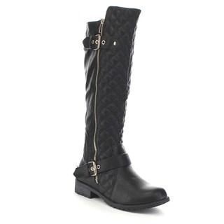 Beston GA83 Women's Knee High Quilted Deco Zipper Boots