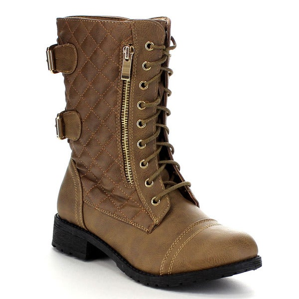 Beston CA72 Women's Lace Up Quilted Military Boots