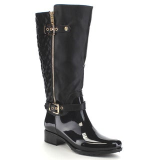 Beston CB34 Women's Quilted Two-tone Buckle Under Knee-high Rain Boots