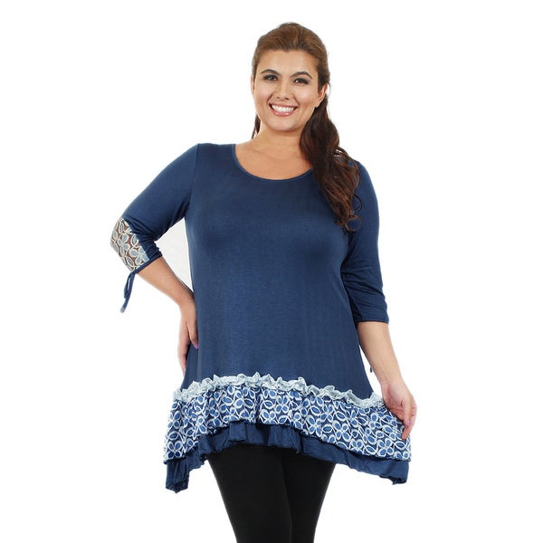 Firmiana Women's Plus Size 3/4-Length Sleeve Blue and White Lace Ruffle Tunic