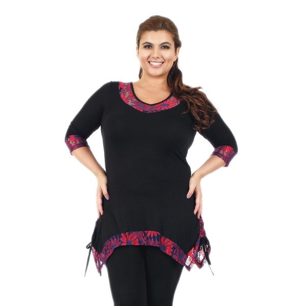 Firmiana Women's Plus Size 3/4-Length Sleeve Black and Red Floral Lace Tunic