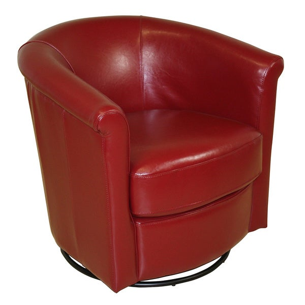 Small Red Leather Accent Chair: Porter Marvel Red Swivel Barrel Accent Chair