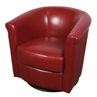 Porter Marvel Red Swivel Barrel Accent Chair