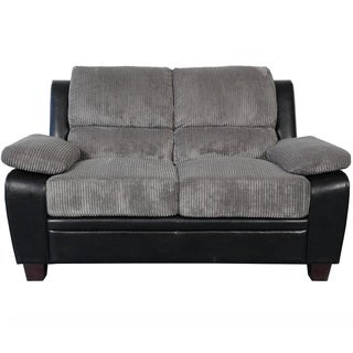 Sitswell Harvey Black and Grey Faux Leather and Corduroy Loveseat