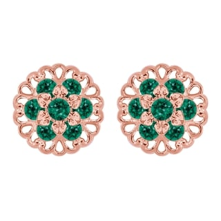 Lucia Costin Sterling Silver Green Crystal Stud Earrings