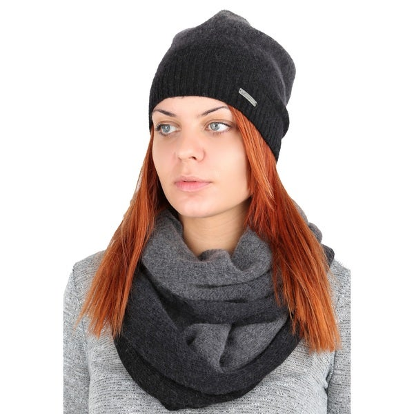 Tahari Grey Ombre Wool Angora Hat and Scarf Set