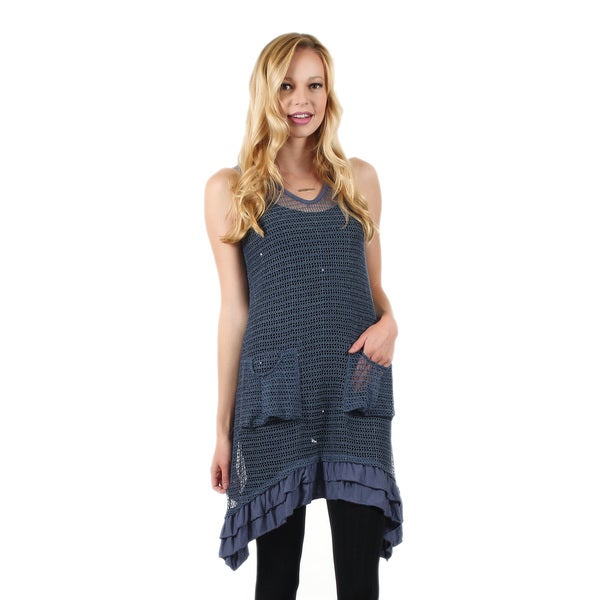 Firmiana Women's Sleeveless Blue Crochet Pocket Tunic