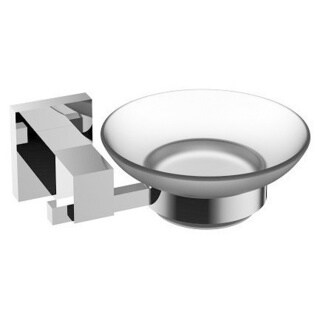 Eviva Panera Frosted Glass Soap Dish, Holds As a Wall Mount (Chrome), Bathroom Soap Holders