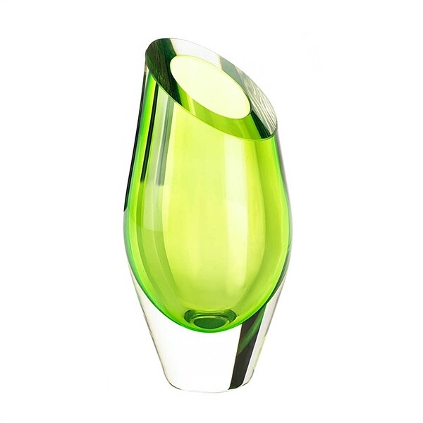 Angled Green Glass Vase