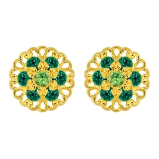 Lucia Costin Yellow Goldplated Sterling Silver Dark Green/ Light Green Crystal Earrings