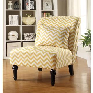 Living Room Chevron Print Yellow Armless Accent Chair