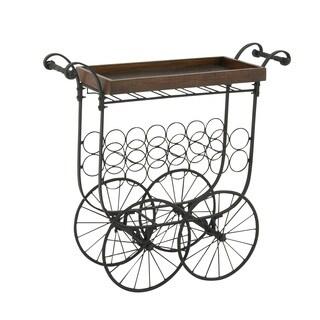 Striking Metal Wood Village Bar Cart
