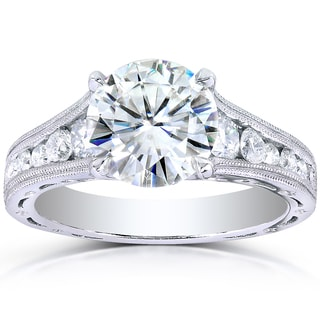 Annello 14k White Gold Forever One Moissanite and 1/2ct TDW Diamond Milgrain Engagement Ring (G-H, I1-I2)