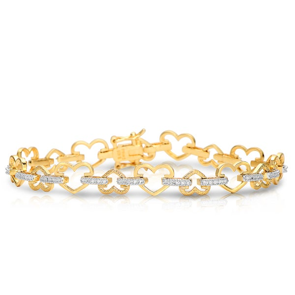 Collette Z Gold Plated and Cubic Zirconia Petal Bracelet