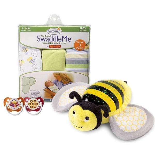 Bee Ready! 6 Piece Infant Swaddle, Soothe and Sleep Starter Set