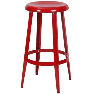 Adeco Metal Stackable Round Top Backless 25-Inch High Stools