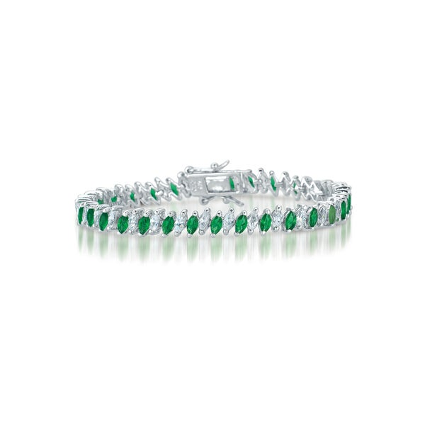 Collette Z Sterling Silver Green Cubic Zirconia Tennis Bracelet