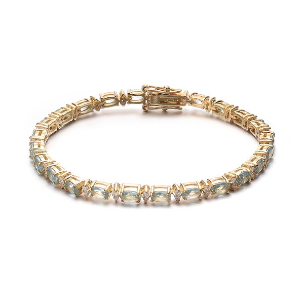 Collette Z Gold Plated Sterling Silver light blue and white Cubic Zirconia Bracelet